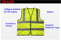 Good quality multi-functional pocket reflective vest made in yongkangchinabaishun with zipper