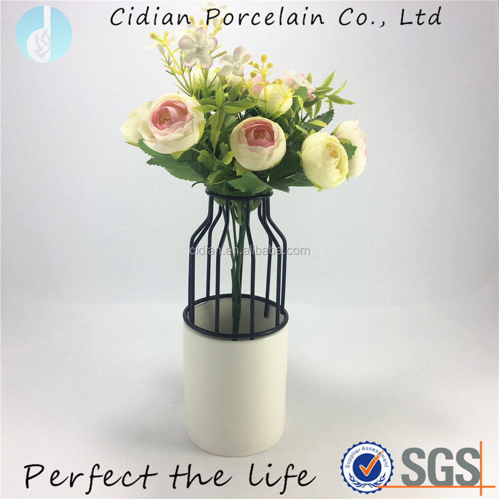 Ceramic Porcelain metal flower vase for home decor