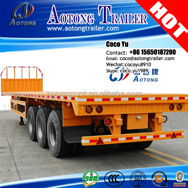 heavy duty bulk cargo side wall semi trailers for loading container , 40-50ton flatbed trucks trailer for sale