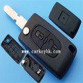 Keyless remote key fob replacement case 2 buttons flip key case with 406 blade and battery holder(CE0536) Peugeot