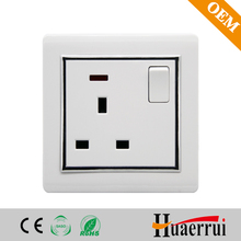 Double pole 13A wall socket with switch and neon