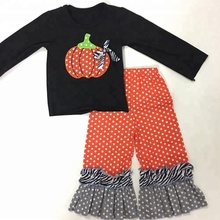 high quality fall winter children boutique outfit baby girls pumpkin embroidery halloween kids clothing