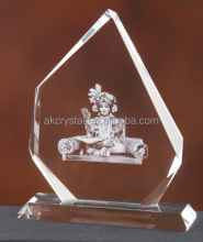Customized best prize k9 crystal blank award plaque