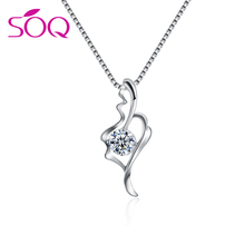 925 Sterling silver chain crystal pendant necklace jewelry indonesia silver jewelry