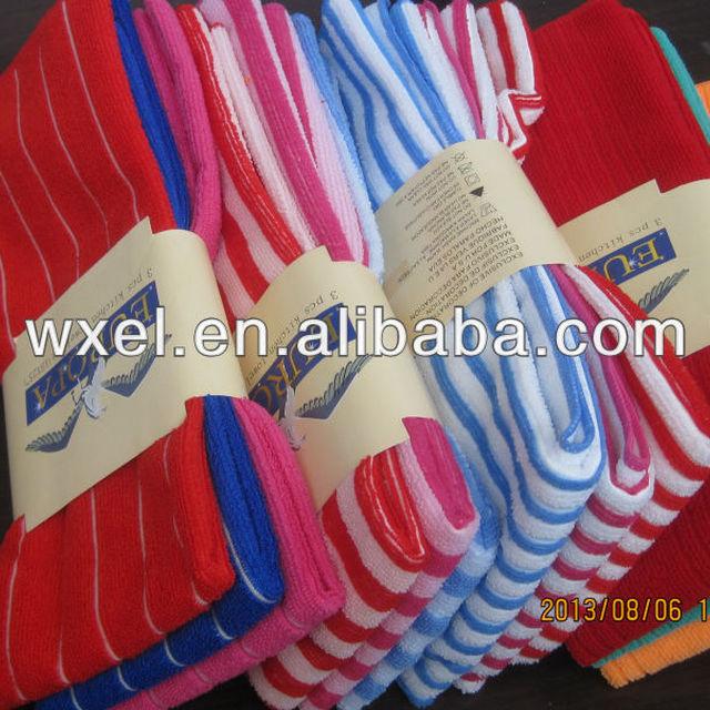 wholesale Microfiber striped terry bath towels
