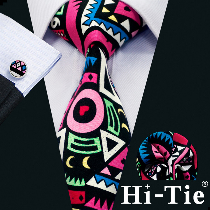 Hi-Tie Classic Men Cotton Colorful Novelty Men Necktie Pocket Square Cufflinks B-1370
