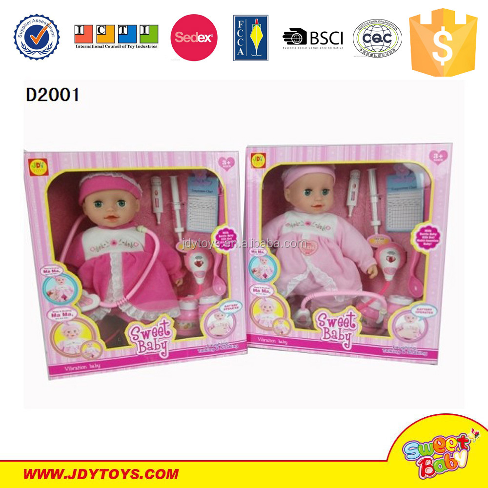 2015 wholesale 16 inch plastic boy doll 16 inch vibration sick baby with doctor set