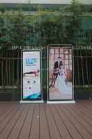 Folding display pop up telescopic banner stand