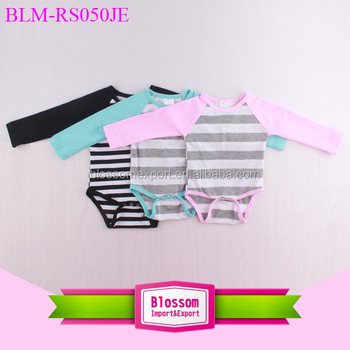 Wholesale striped long sleeve baby girls raglan onesie cheap infant clothing rompers