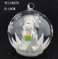 Christmas clear glass ball with LED light and santa inside christmas tree decoration
