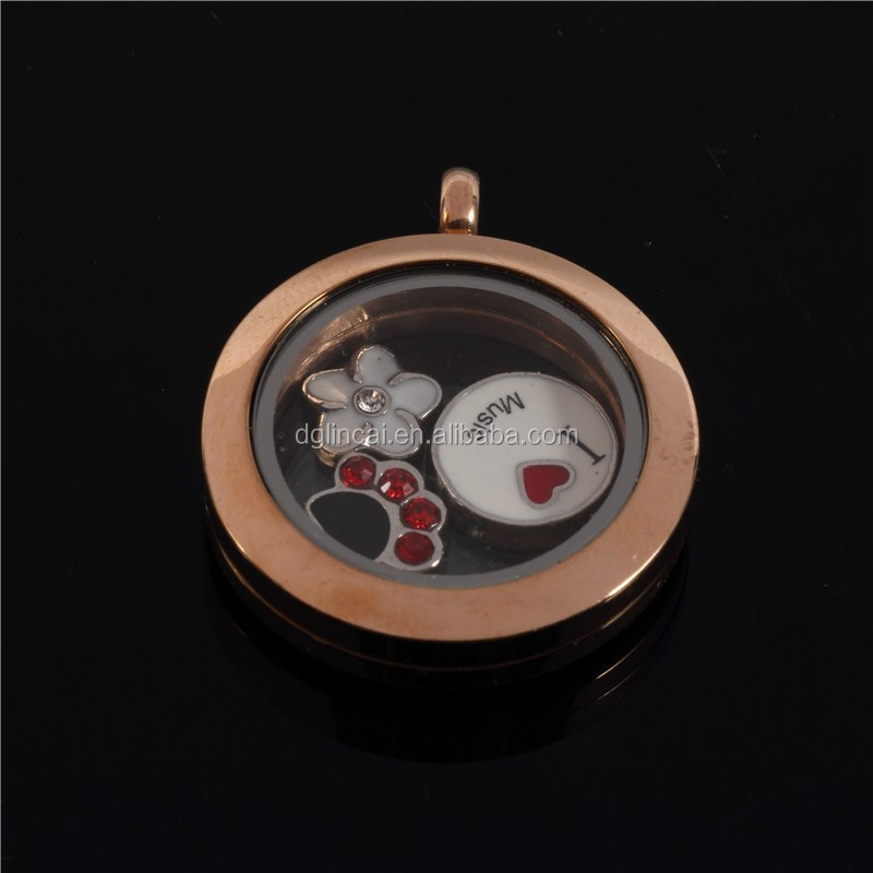 stainless steel round magnet living glass floating charm locket