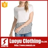 hot sell ladies fashion fit modal and cotton plain t-shirt stripe t-shirt