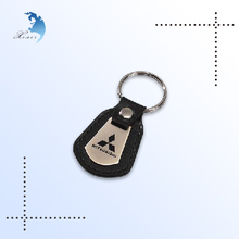 Promotional Custom cheap leather car logo keychain/key holder/keyring