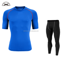 2017Custom facotry design men compression wear dry fit running sets /wholesale compression shirts