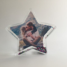 Star Shape Custom Snow Globe Plastic Photo Frame Picture Insert Snow Globe