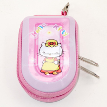 IN44790 Portable Cute Cartoon Litter Girl Tin Metal Zip Money Bag ,Carrying Bag , Keyring Coins Wallet