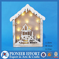 Hot design products, wooden laser Christmas house with LED lights decoration