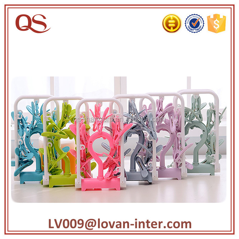Colorful folding clip hanger socks plastic kids hanger