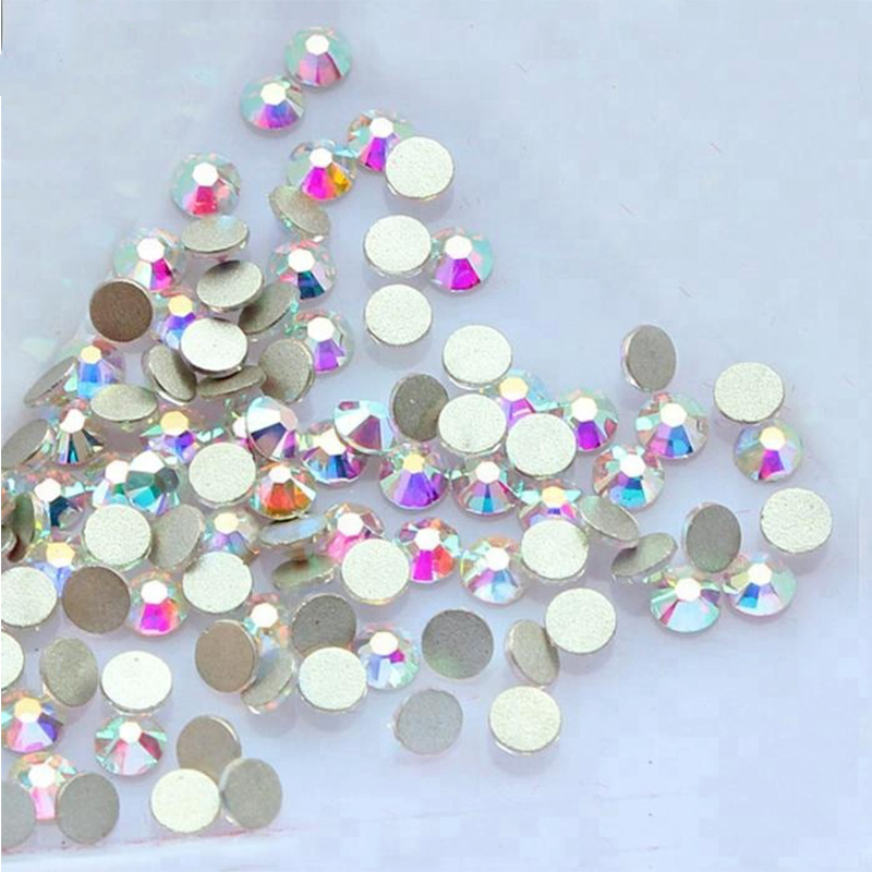 Wholesale Clear White AB Flat Back Crystals Non Hot Fix Flatback Glass Rhinestone