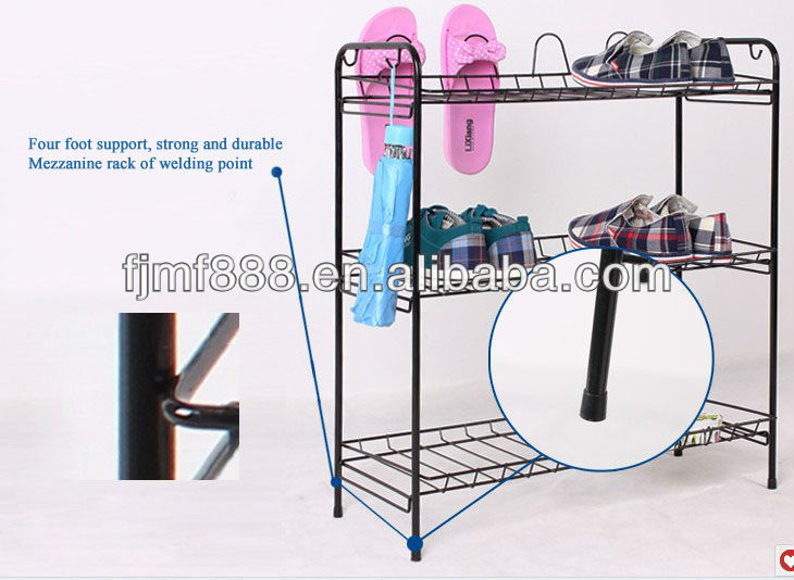 3 tiers wire mesh shoe rack