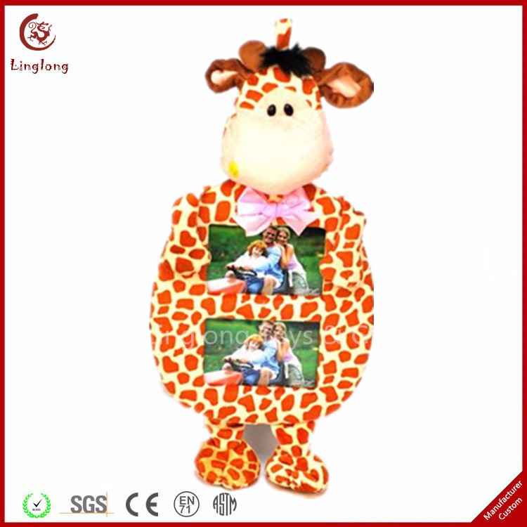 Practical plush giraffe multi photo frame stuffed cartoon giraffe picture frame cartoon animal photo frames