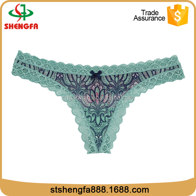 sexy girls wearing sexy thong lady panties sexy lace thong printed thong(Accept OEM)