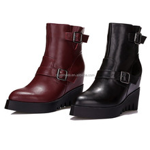 FX01 2017 Leather Thick Outsole Wedge Shoes Ladies Rubber Boots Women Boots