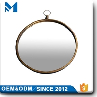living room decoration antique round metal frame wall mirror