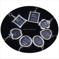 flower shape custom logo photo frame keychain
