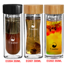 Double wall heat resistant bottle durable bamboo lid glass water bottles with stainless steel tea infuser