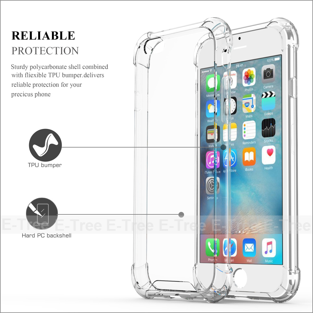 Shockproof Hybrid Rubber TPU Clear Back Cover Phone Case for Apple iPhone 6 plus