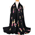 Europe hot selling elegent shawl cotton scarf women embroidery hijab