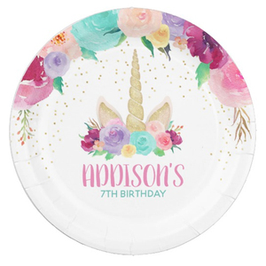 Elegant custom print party supplies white small disposable recycle birthday paper plate with logo