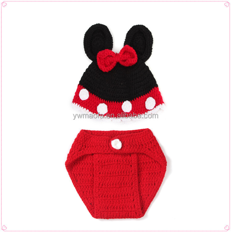 Factory Wholesales Crochet Infant Cartoon Charactor Photo Prop Handmade Knitted Newborn Hat and Diaper Cover