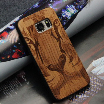 Wooden phone case for samsung s7 laser engraving custom design cover bamboo case