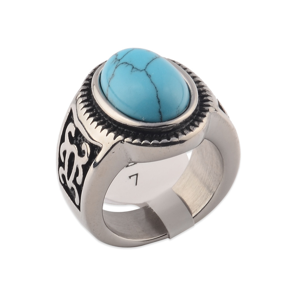Fashion Online Wholesale Mens Big Turquoise Ring