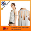 New design high quality lady's plain sleeveless cutout Back Top cheap