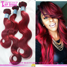 Indian remy human hair color 99j hair weave red braiding hair