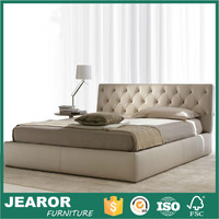 Modern Leather Upholstered Platform Bed with Leather Padded Headboard 1200
