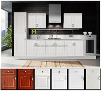 PVC mdf vinyl wrap kitchen cabinet designs