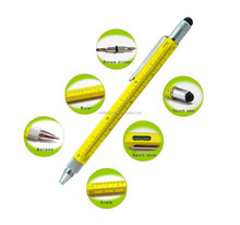 6 in 1 metal tool pen for office school use, exquisite cheap measuring touch pen