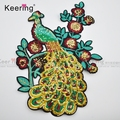 Embroidered Iron Pacth Applique peacock Sequin Embroidery Patch WEFB-115
