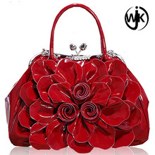 2017 new fashion high quality pu leather wholesale durable women handbags with flower on front of handbag