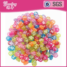 Factory price light color flat round plastic acrylic alphabet letter beads