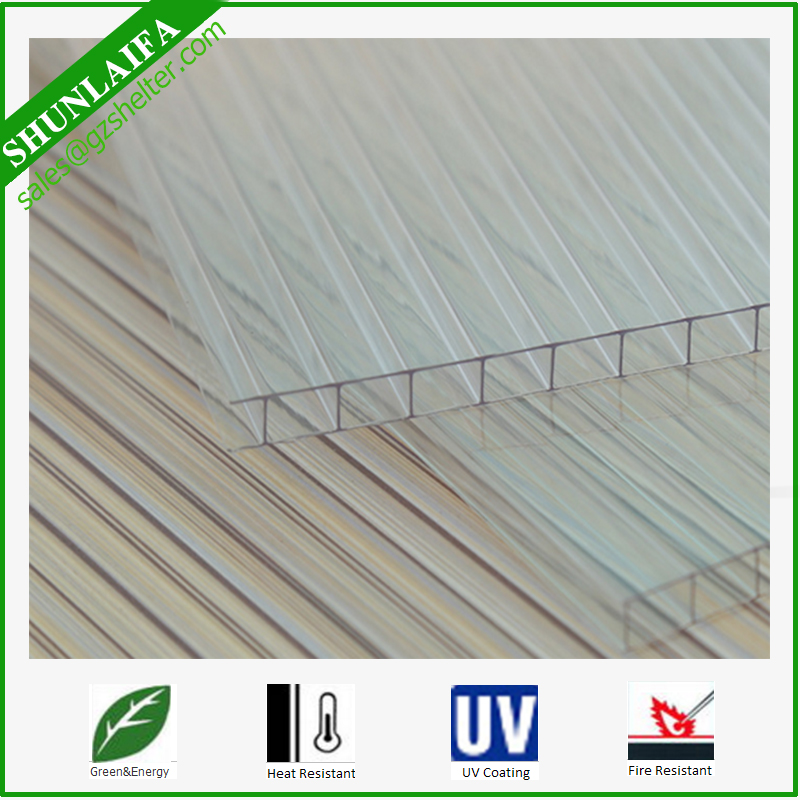 Clear Lexan Polycarbonate roofing twin-wall hollow sheet 10mm Polycarbonate Greenhouse Roofing Sheet