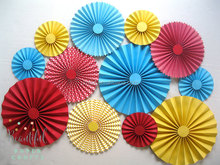 wedding stage backdrop decoration- Carnival Rosettes - Paper Fans decoration - wedding backdrop decoration