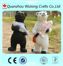 wholesale garden decoration black white resin bear figurines