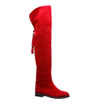 2017 Red Women genuine suede leather thigh boots
