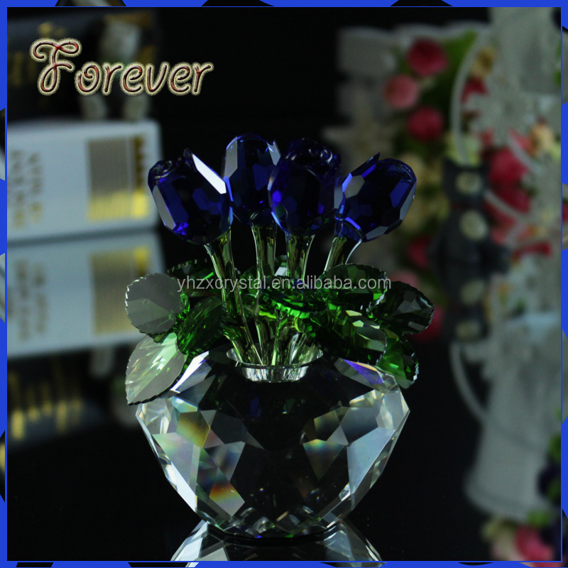 New gifts Artificial K9 transparent apple base blue Crystal Four roses for wedding favors