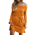 Winter Bodycon Wool One Piece Dress Women/Off The Shoulder Sweater Crochet Dress For Evening Party